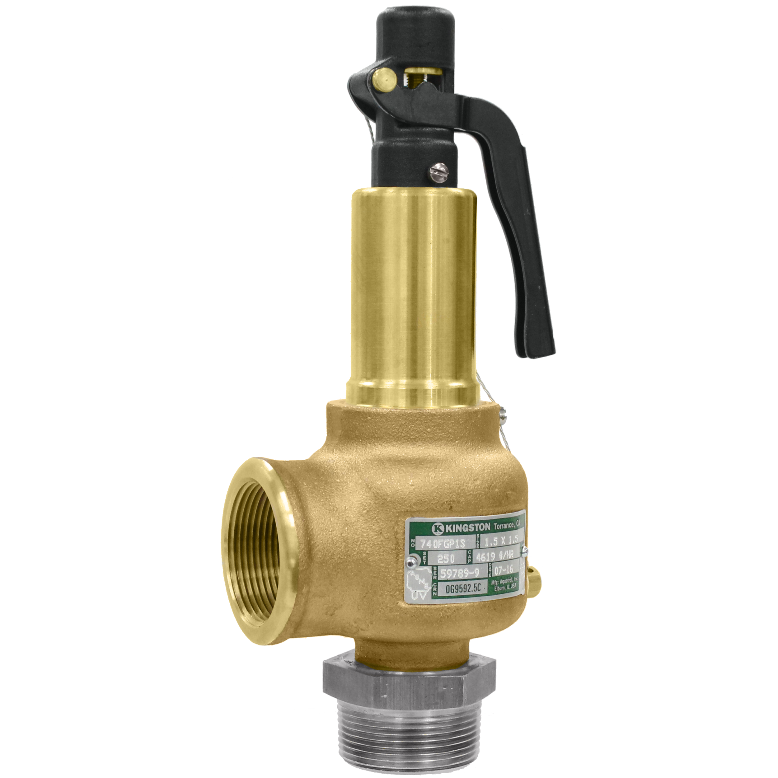 1 Inlet X 1 Outlet D Orifice ASME Section Viii Air//Gas Open Lever Silicone Disc Brass Body And Trim 375 Psi 1 Inlet X 1 Outlet Kingston Valves 710D66S1K1-375 Model 710 Safety Valve